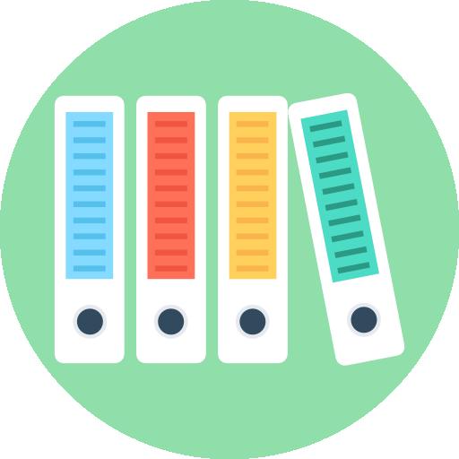 een button met dossiers in verschillende kleuren, waarbij er drie recht staan en één scheef, wat een onderscheidingsfactor illustreert