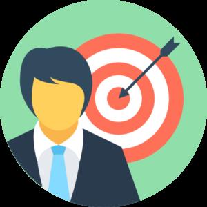 een button met een mannelijke ondernemer met een dartbord achter zich met een pijl in de roos waarop geklikt kan worden om een online marketing blog post over een social media stappenplan te lezen